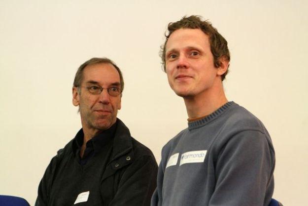 Andrea Bull, taz und Felix Weth, fairmondo - beide Genossenschaftler