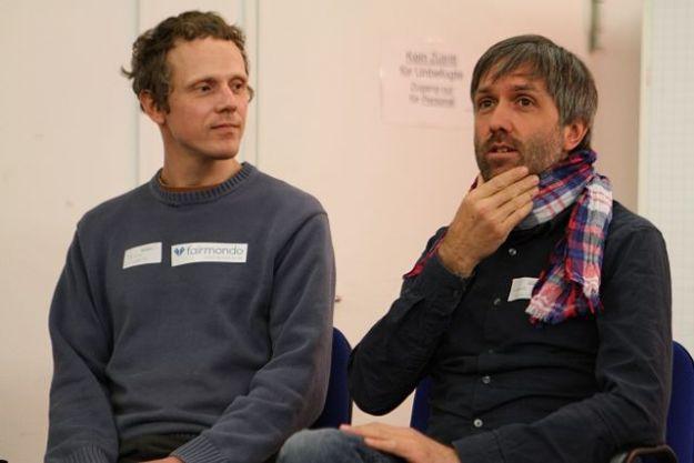 Felix Weth, Online-Marktplatz fairmondo eG und Ludwig Schuster, sinnwerkstatt Medienagentur