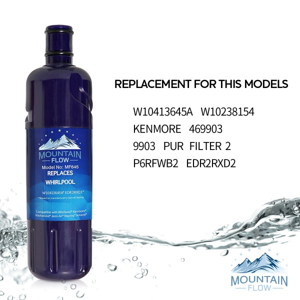 Mountain Replacement Whirlpool W10413645A Water Filter EDR2RXD1 Kenmore  9082 Everydrop 1 Refrigerator Water Filter MF005(2-Pack)