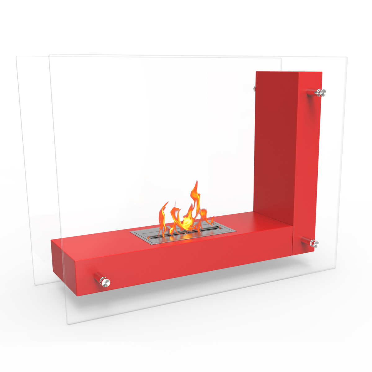 Avec Ventless Free Standing Ethanol Fireplace In Red