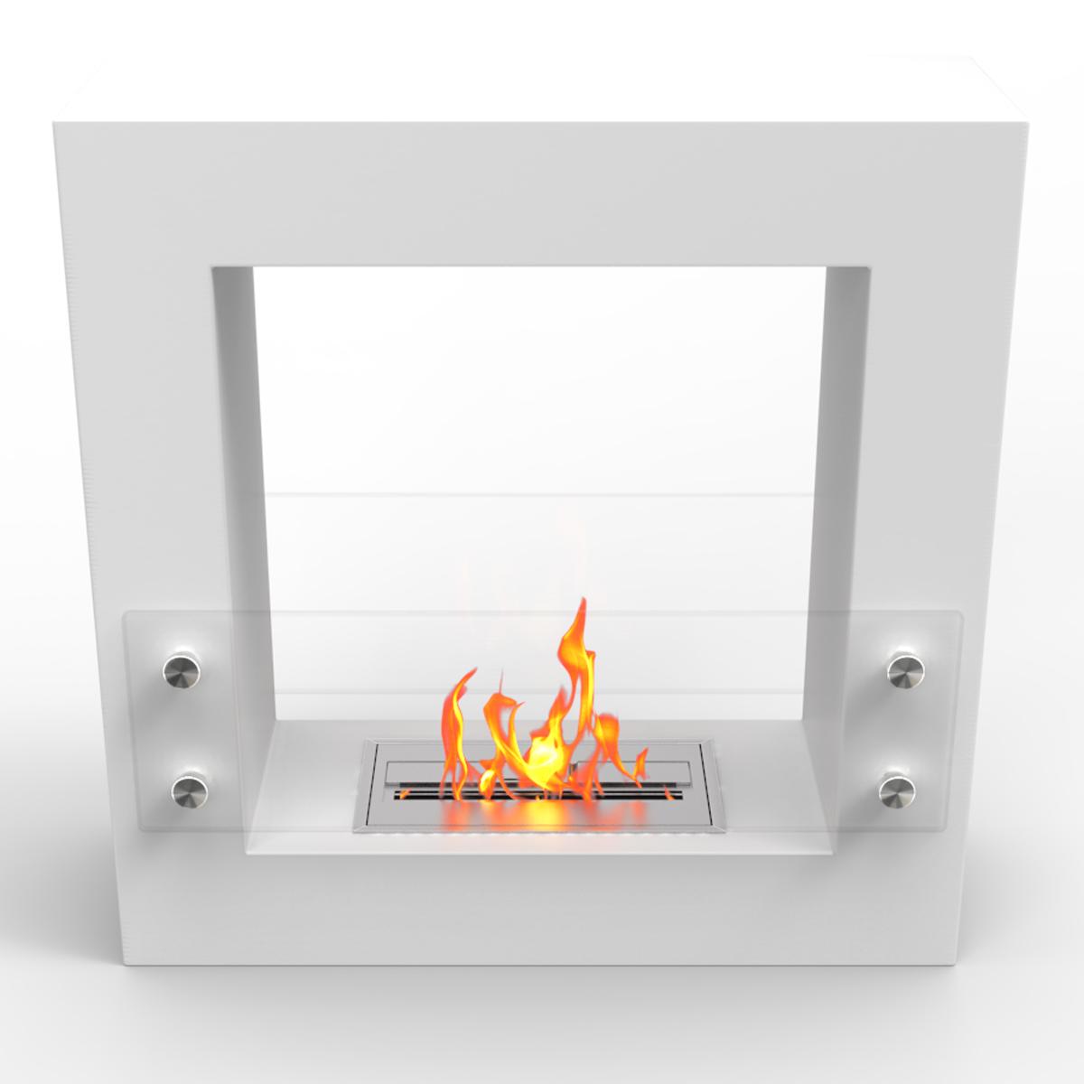 Dora Ventless Free Standing Ethanol Fireplace In White