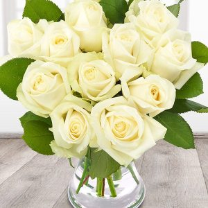 12 stems of white roses
