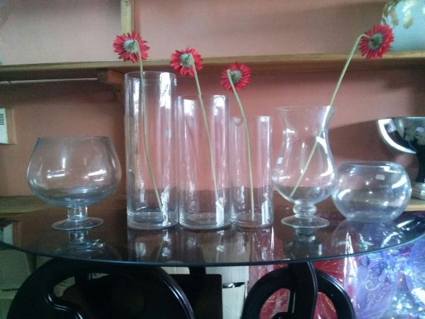 Flower vase options cylindrical fishbowl etc