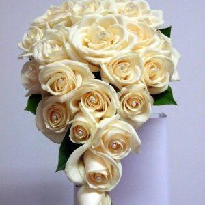 cascading bridal bouquet 002 - white roses