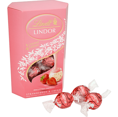 The original and most famous LINDOR strawberry and cream truffle available in 200g or 500g sizes