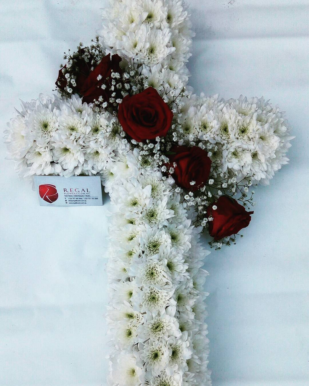 Funeral condolence archives regal flowers lagos cross wreath white chrysanthemum red roses with select size izmirmasajfo