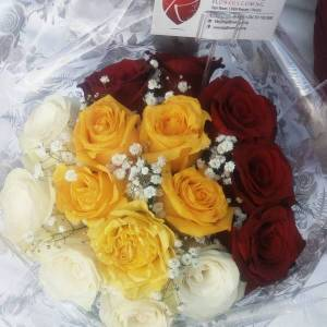 red yellow and white roses