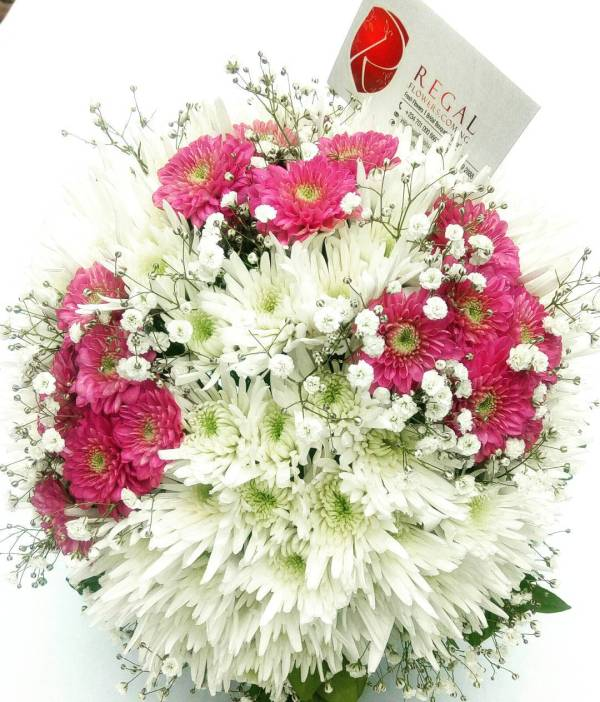 and Purple or Pink,Red,Yellow,Lilac and Orange Chrysanthemums with