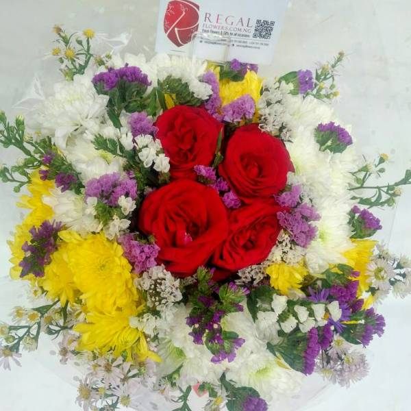 Cosmos - chrysanthemums, roses and statice
