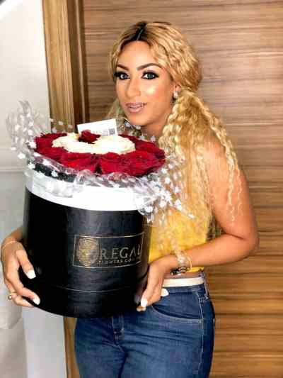 Nigerian actress Juliet Ibrahim with our 'The One' box of roses