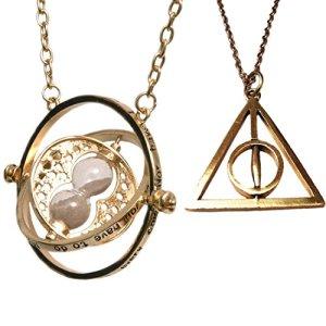 gadget harry potter collana hermione giratempo e collana doni della morte