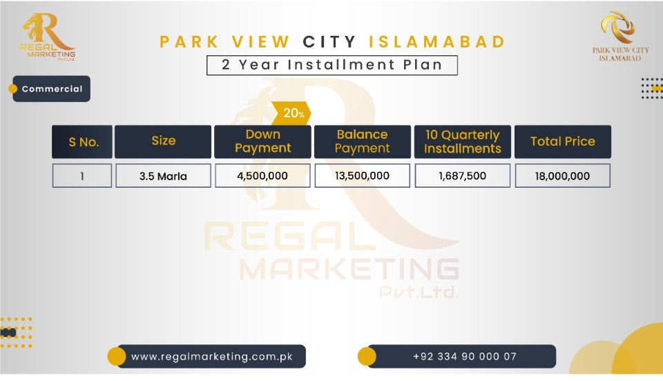 Park Vieew City Islamabad Payment Plan Commercial 3.5 Marla