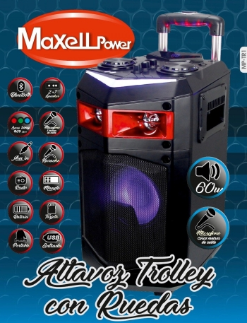 altavoz trolley maxel power potente 60w karaoke bluetooth