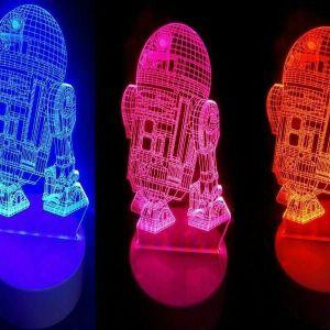 Lámpara 3Led 3D Robot R2D2