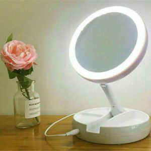 Espejo plegable de belleza maquillaje con luz led doble aumenta x5 x1 y cable