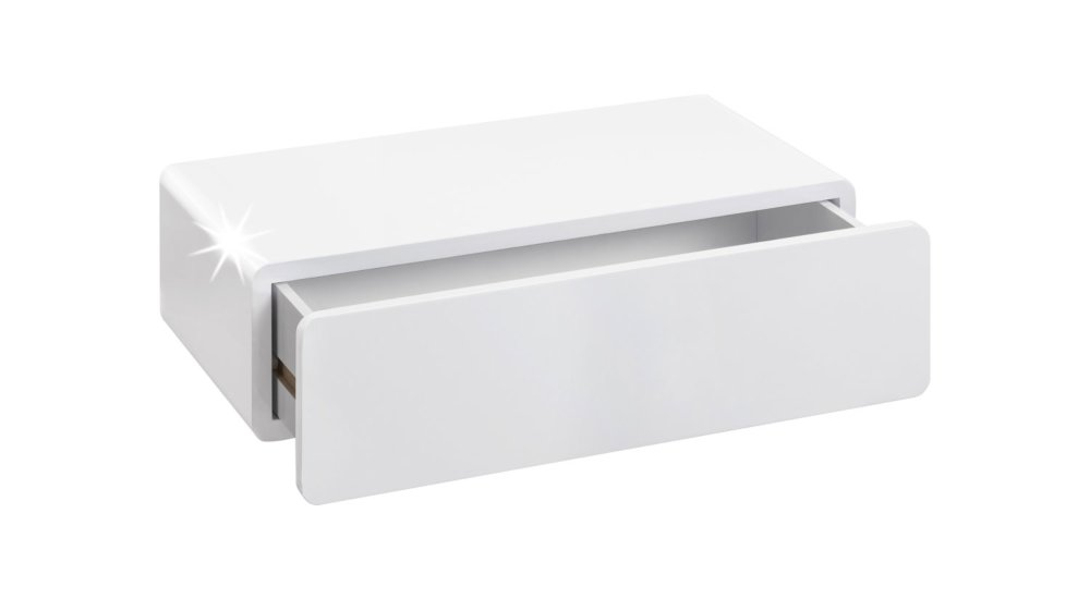 cassy etagere tiroir 51x27x14 cm blanc laque