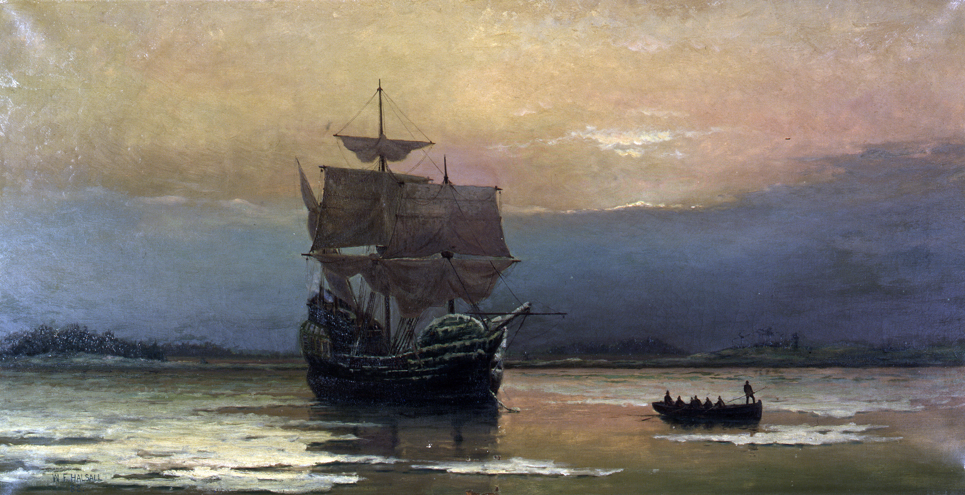 Mayflower in Plymouth Harbour by William Halsall