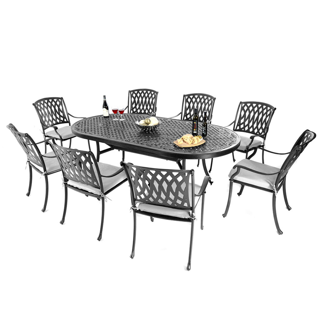 Satin Black 8 Seat Oval Set With Venetian Chairs Amp Seat
