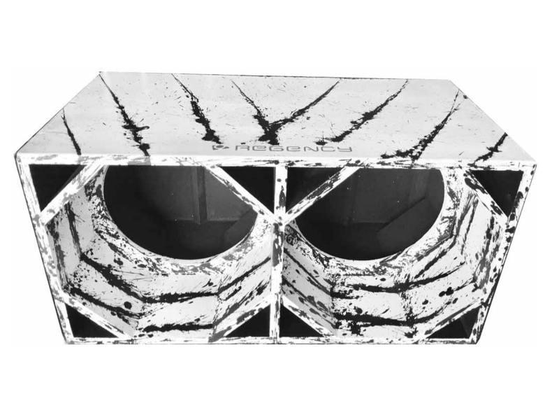 """Cod 462 - Box Canhão 2x12"""" Branco com Preto"""