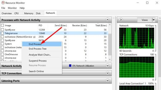 Check the network usage on Windows 10