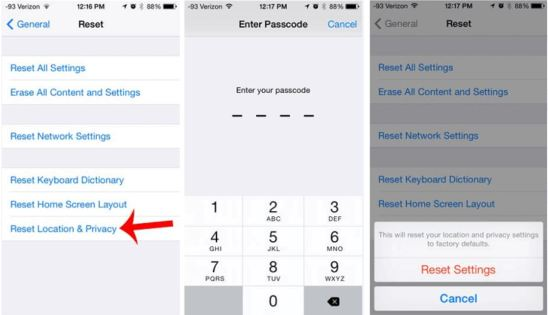 Reset location and privacy iPhone