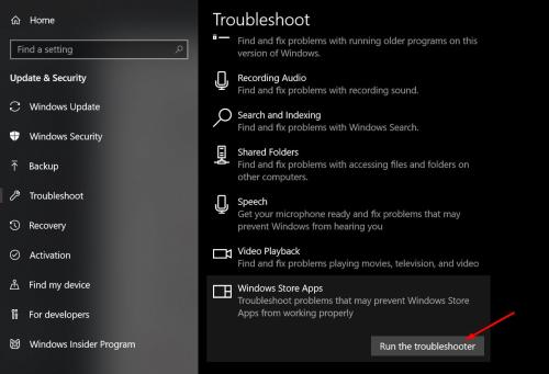 Windows Store Apps Troubleshoot