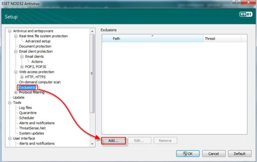 Exclusions Scanning ESET NOD32