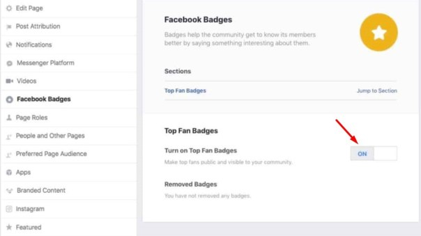 activate the top fan badge feature