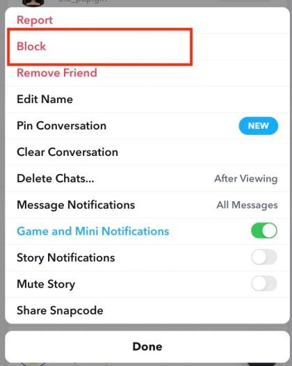 Select More, than tap Block