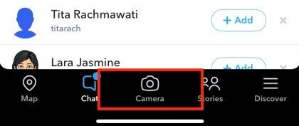 Take a snap by tapping the capture button in the bottom-center of the screen