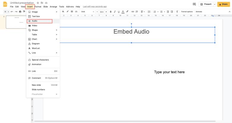 Click Insert, select Audio