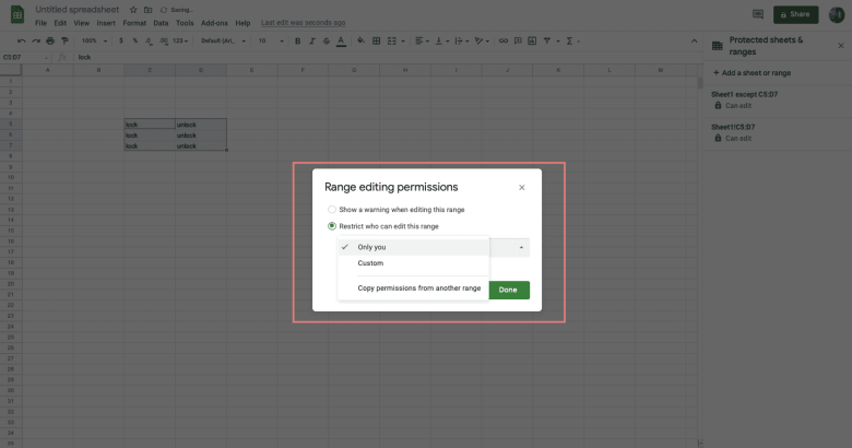 Set editing permissions by choosing Only you or Custom