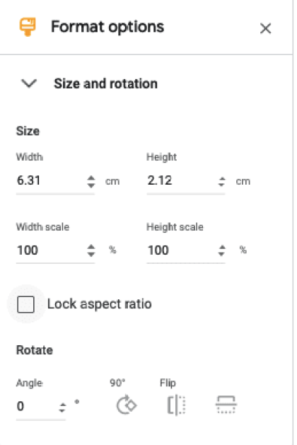 Size and Rotation