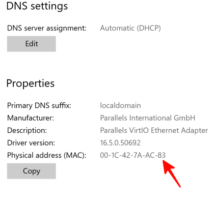 Your MAC address is labeled with Physical address