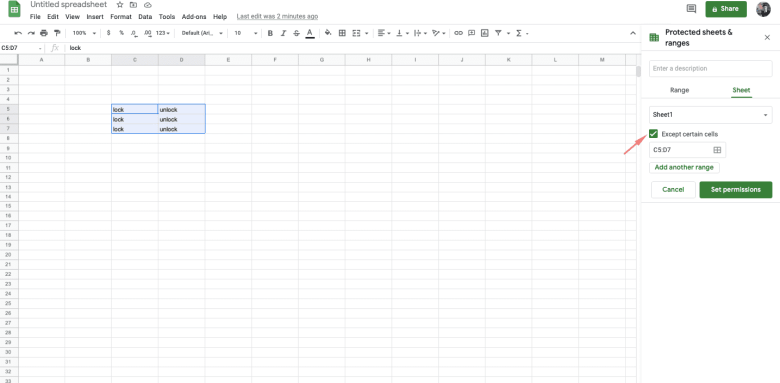 put a tick in the box to the left of Except certain cells