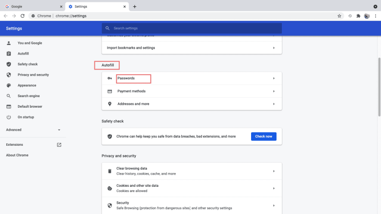 Select Settings, click Passwords