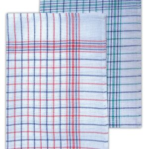 Caterers Check Tea Towel - Assorted Colour - Pack of 10 - quick-cleaning-supplies