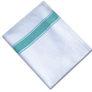 Herringbone Weave Tea Towels - White with Green Stripe - Pack of 10 - quick-cleaning-supplies