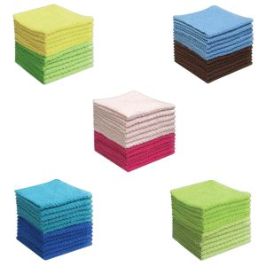 100% Cotton Honeycomb Face Cloths - Assorted Colour - Pack of 12 - quick-cleaning-supplies