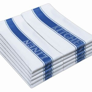 100% Cotton Kitchen Linen- White With Blue - Pack of 6 - quick-cleaning-supplies
