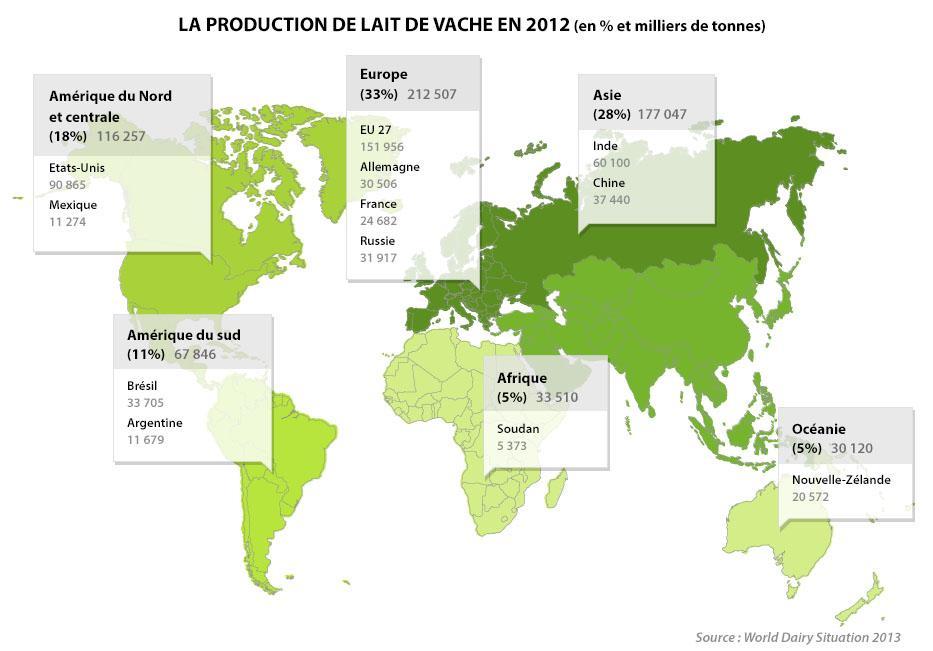 Atlas de la production de lait de vahce en 2012