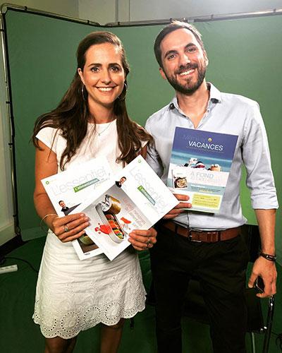 Portrait photographique de la journaliste TV Camille Bosshardt (Marseille) avec Julan Rochat, venu présenter le magazine L'Essentiel de l'alimentation positive sur la chaîne de télévision Provence Azur TV