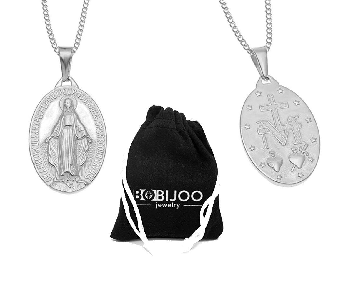 medaglia miracolosa in acciaio inox con collana in argento