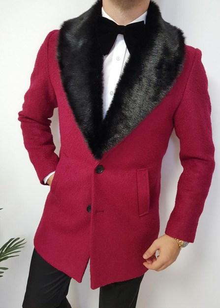 palton de lana cu gule de blana detasasbil