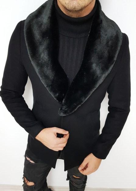 palton negru slim fit cu blana