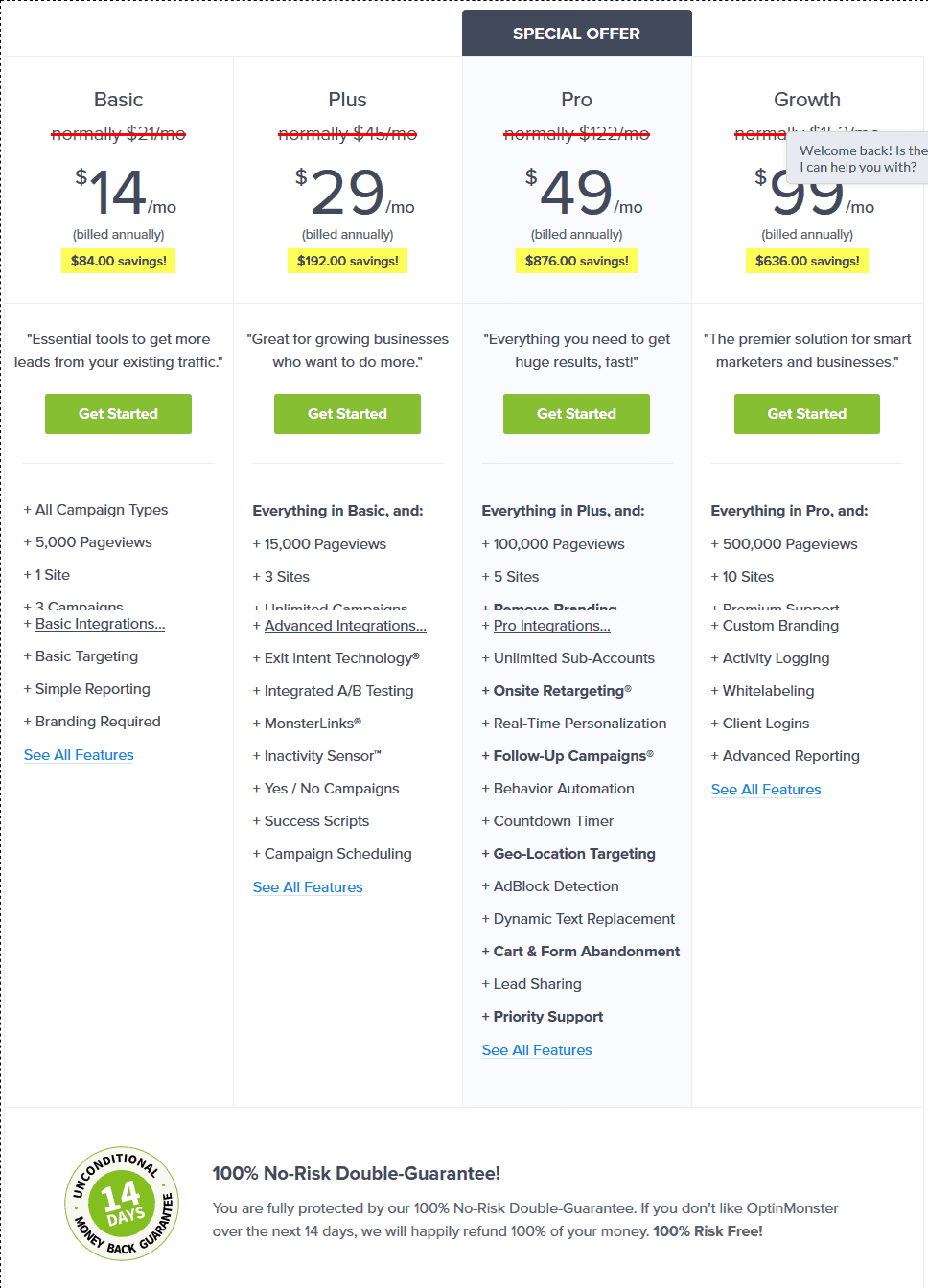 OptinMonster-Pricing OptinMonster vs LeadPages vs Sumo vs Thrive Leads: Comparing The Best WordPress List Building Plugin (2018) WordPress