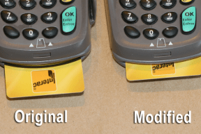 On the left: An original card reader, where the black line of the FIT card aligns with the edge of the reader. On the right, the FIT card exposes a tampered machine.