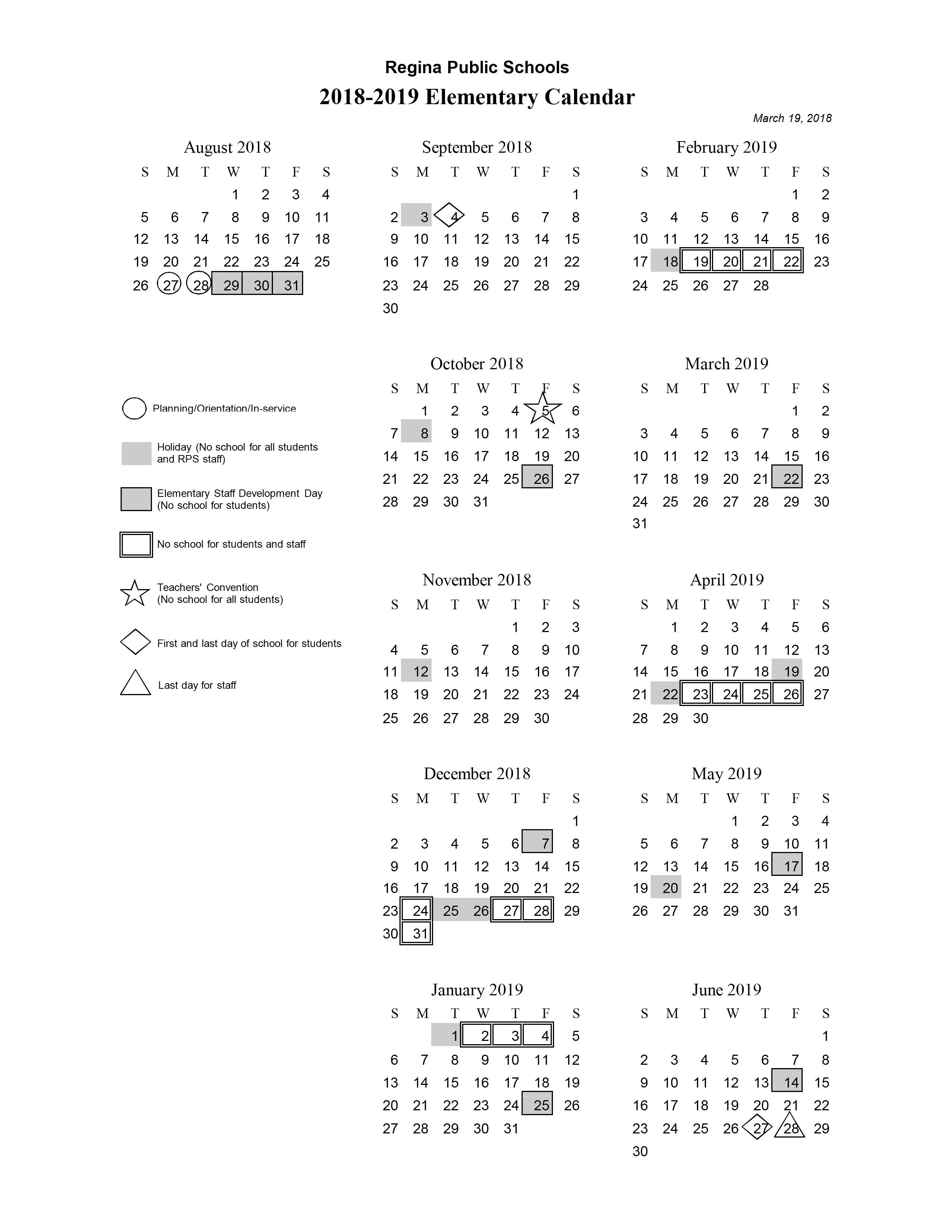 Elementary Calendar 19