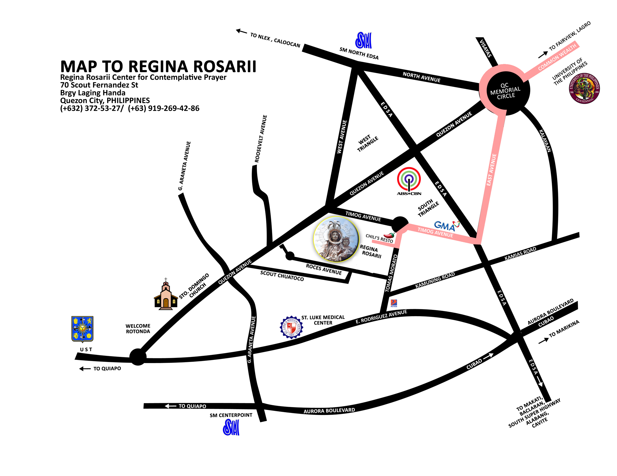 Location Map To Regina Rosarii Main