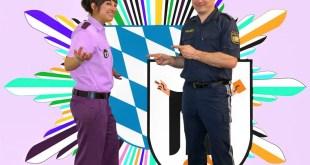Aprilscherz Bunte Uniformen Polizei München Quelle Polizei München